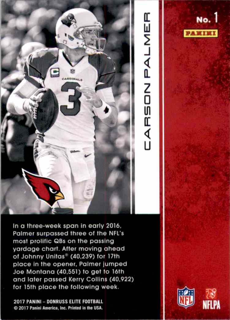 2017 Elite Carson Palmer #1 card back image