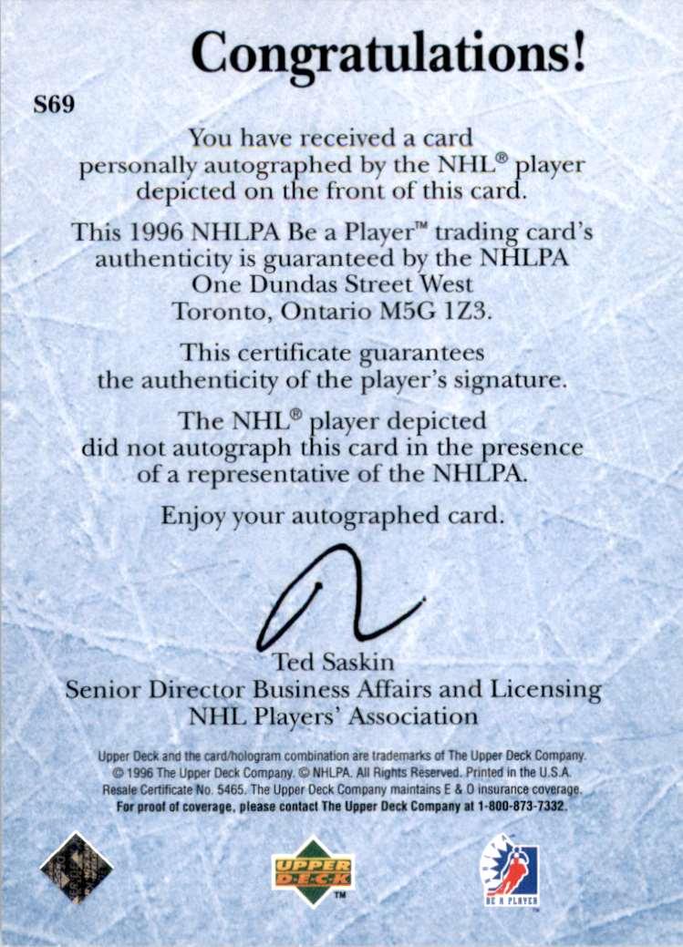 1995-96 Be A Player Autographs Mikhail Shtalenkov #S69 card back image