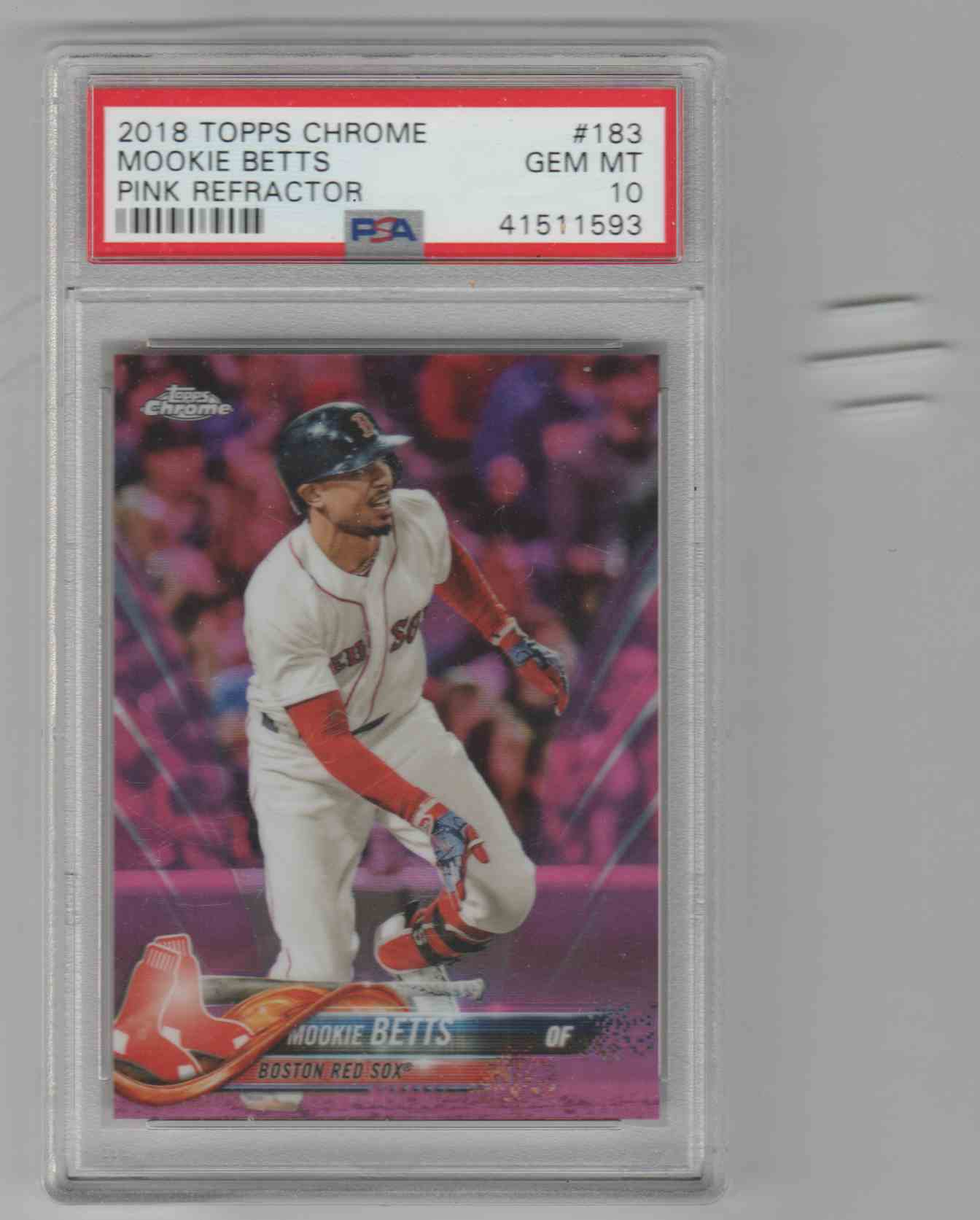 2018 Topps Chrome Pink Refractor Mookie Betts #183 card front image