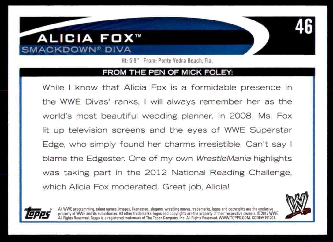 2012 Topps Wwe Alicia Fox #46 card back image