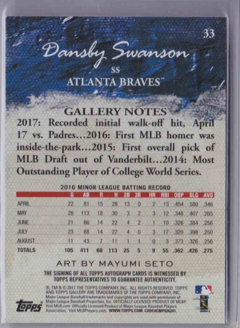 2017 Topps Gallery Autograph Dansby Swanson #33 card back image
