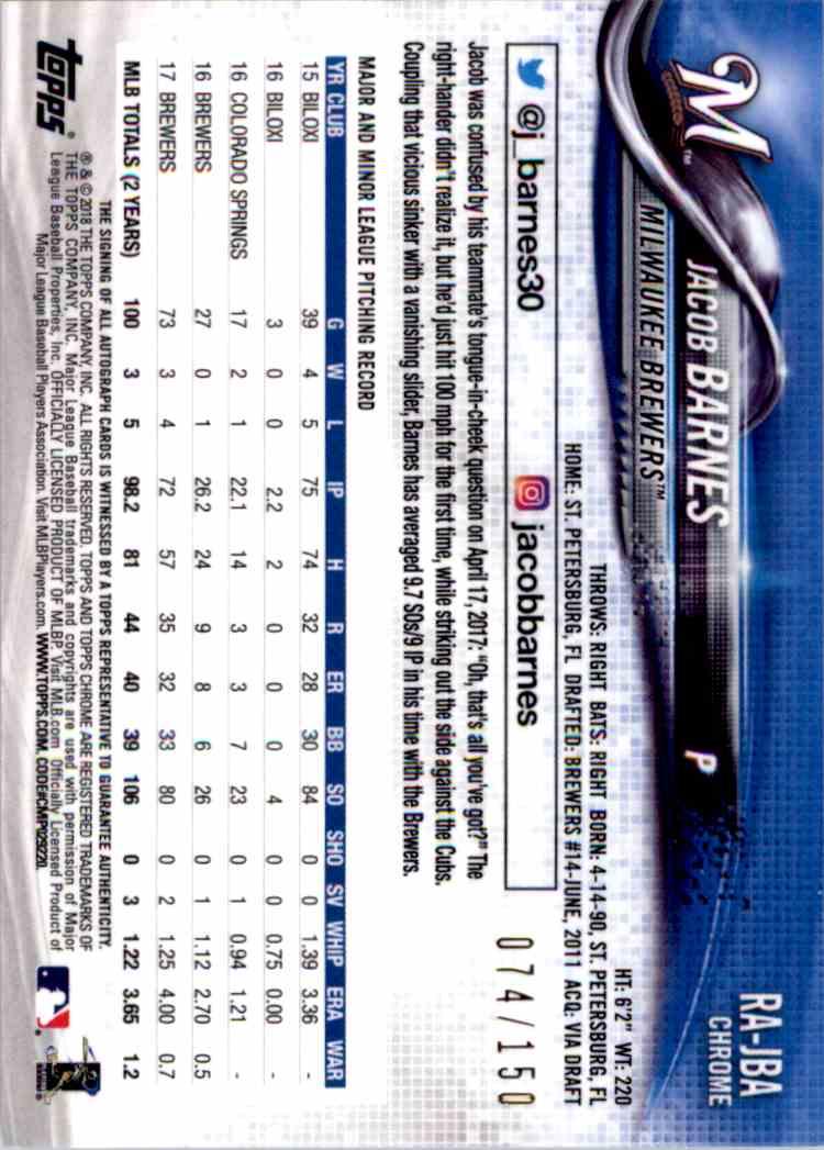 2018 Topps Chrome Blue Refractor Autograph Jacob Barnes #RA--JBA card back image