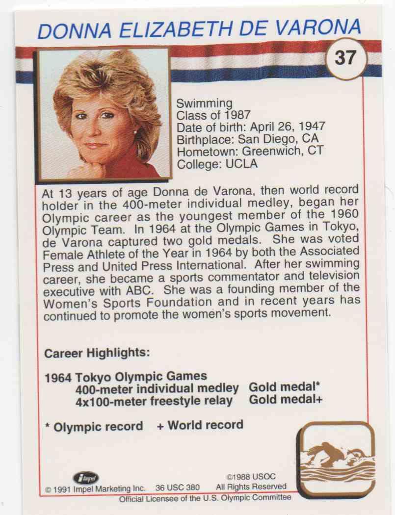 1991 Impel U.S. Olympic Hall Of Fame Donna De Varona #37 card back image