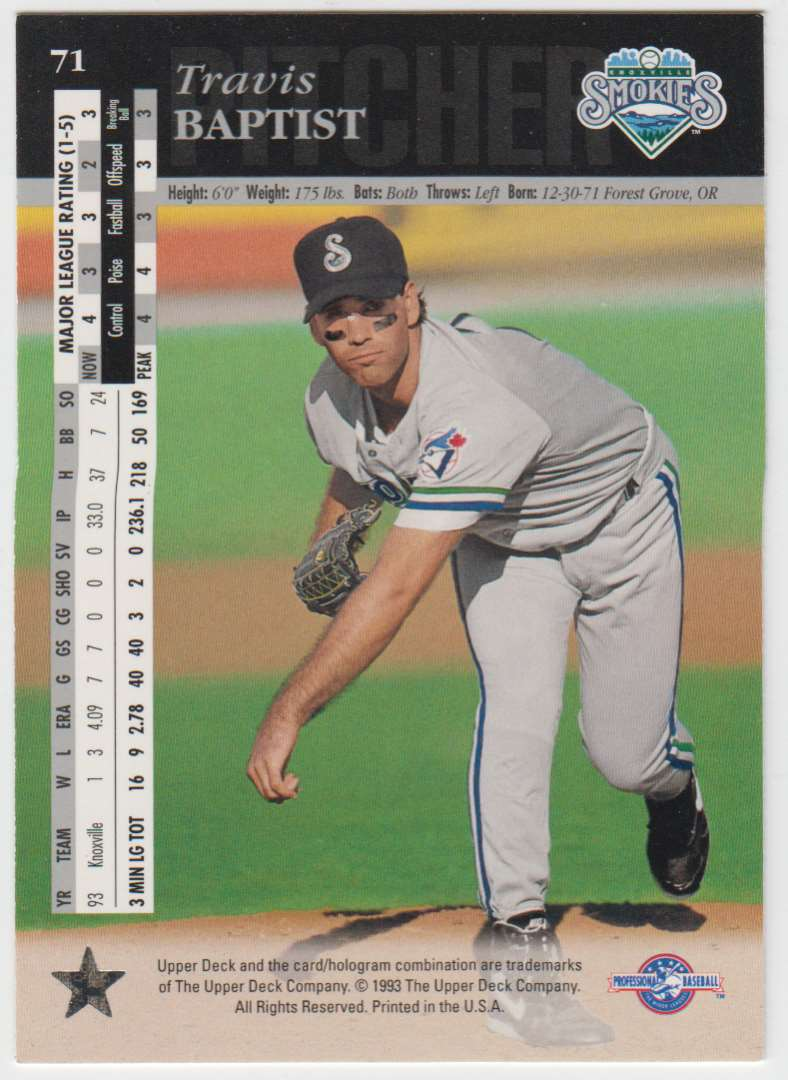 1994 Upper Deck Minors Travis Baptist #71 card back image
