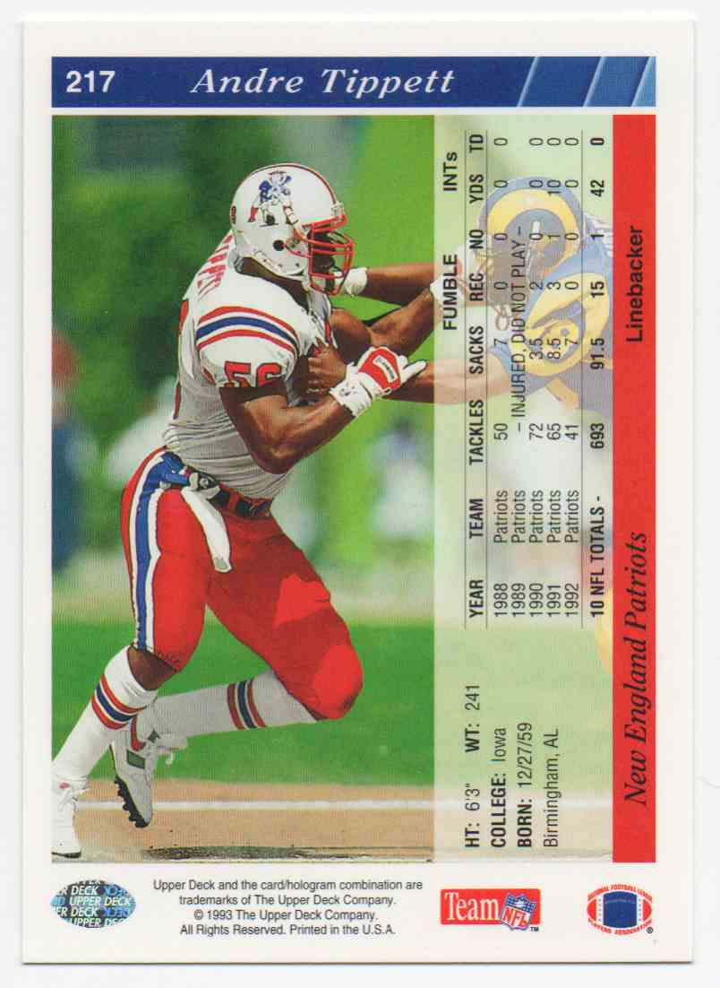 1993 Upper Deck Andre Tippett #217 card back image