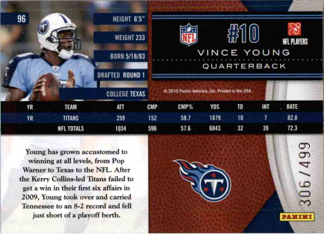 2010 Leaf Limited Vince Young #96 card back image