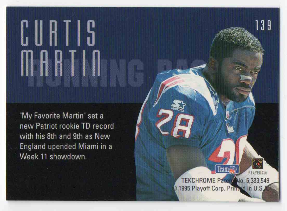 1995 Playoff Contenders Curtis Martin #139 card back image