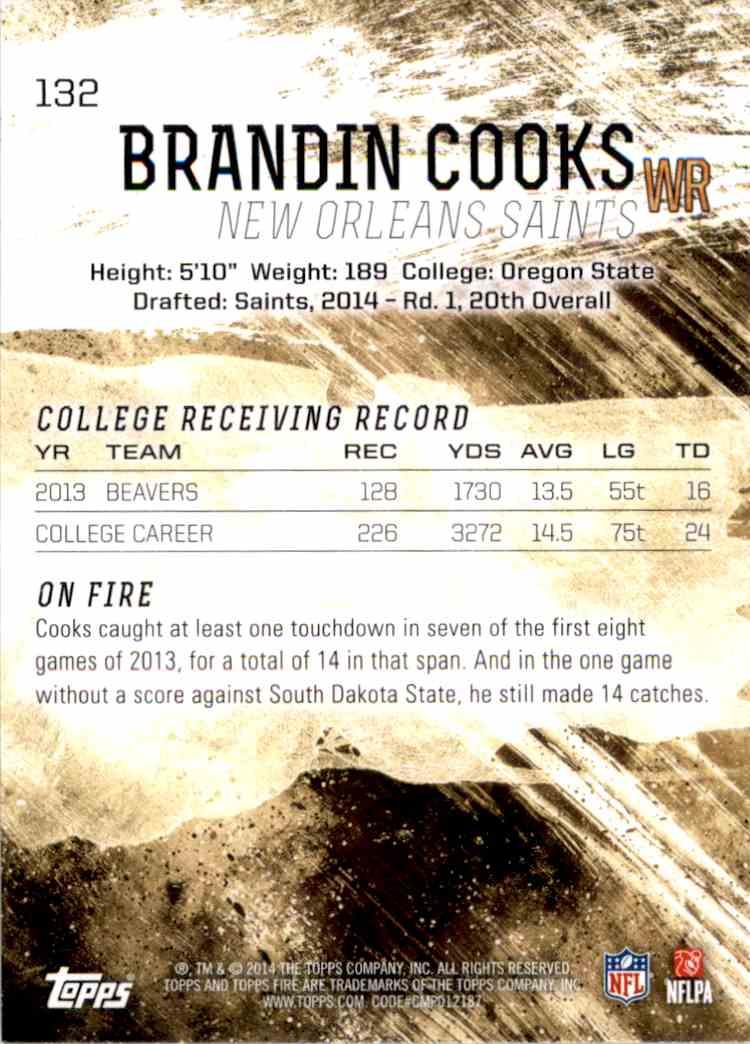 2014 Topps Fire Brandin Cooks RC #132 card back image