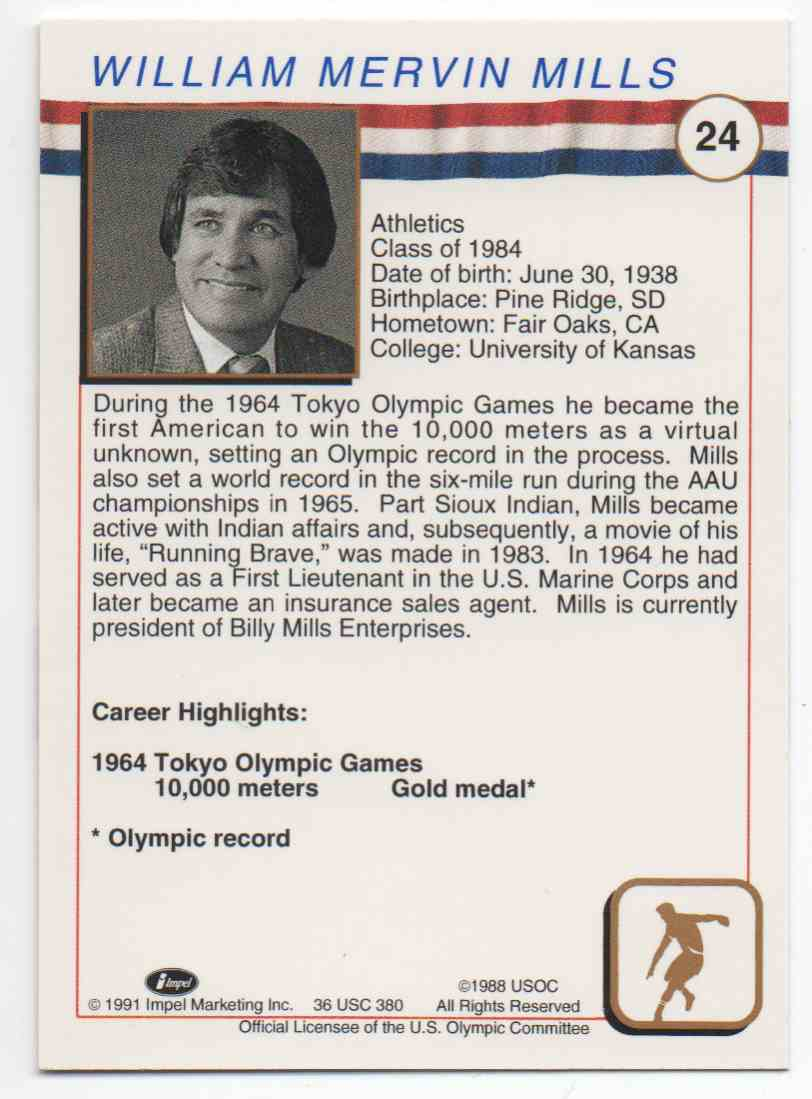 1991 Impel U.S. Olympic Hall Of Fame Billy Mills #24 card back image