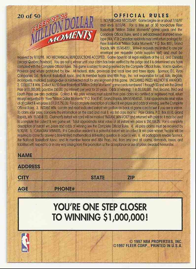 1997-98 Fleer Million Dollar Moments Hakeem Olajuwon #20 card back image