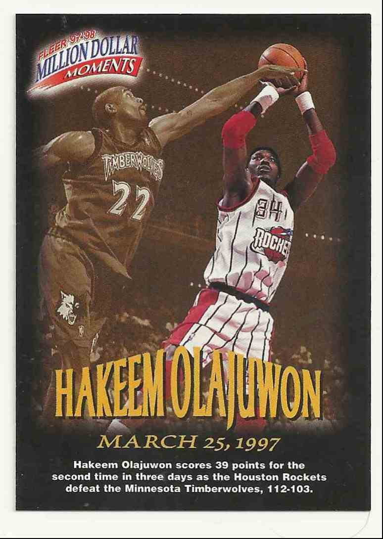 1997-98 Fleer Million Dollar Moments Hakeem Olajuwon #20 card front image