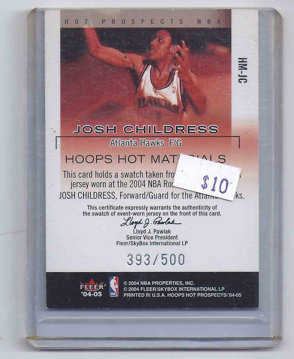 2004-05 Hoops Hot Prospects Hot Materials Josh Childress #JC card back image