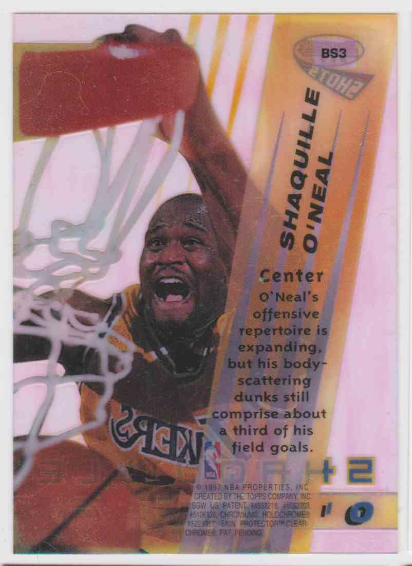 1996-97 Bowman's Best Shots Shaquille O'neal #BC3 card back image