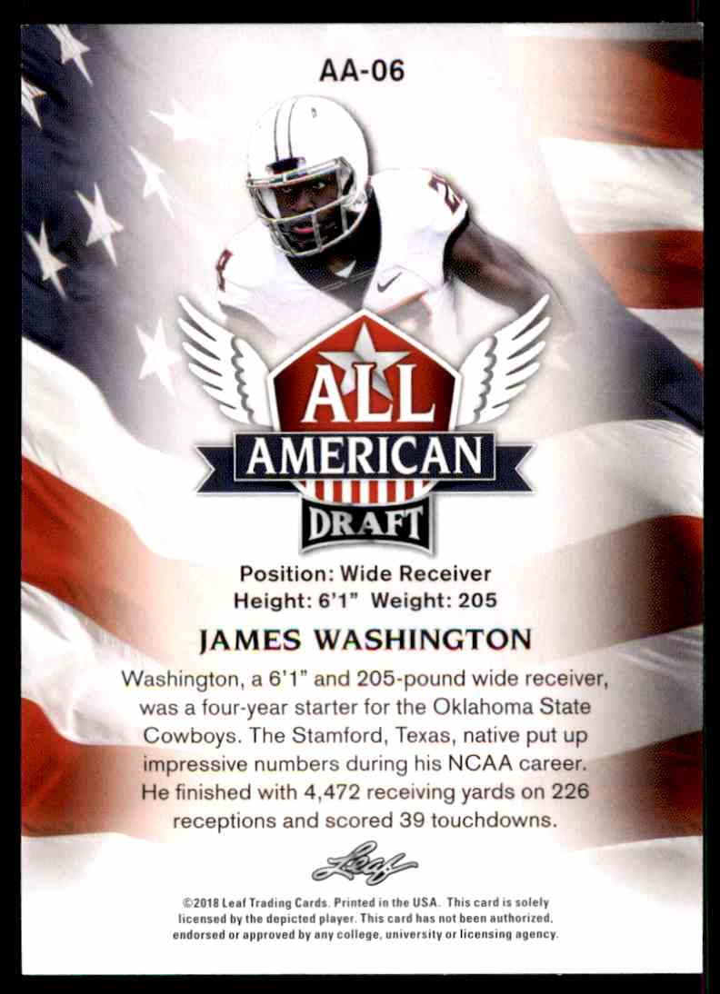 2018 Leaf Draft James Washinton #AA-06 card back image