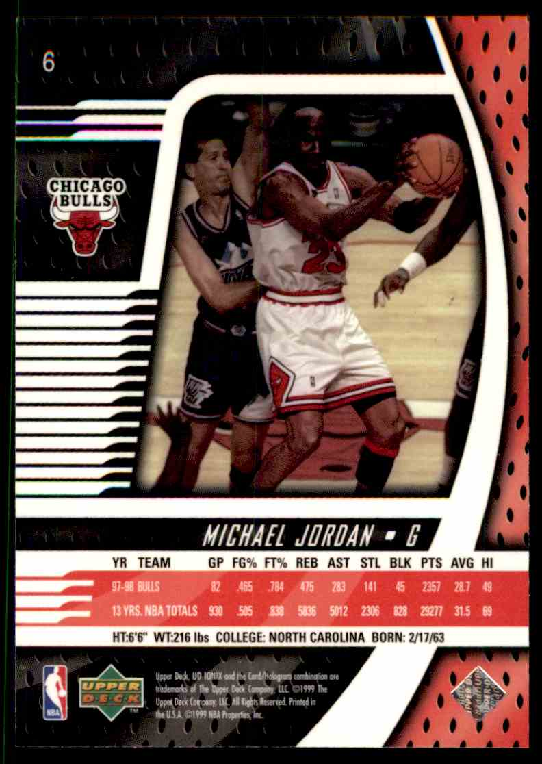 half off 65eed dc8c9 1998-99 Upper Deck Ionix Michael Jordan #6 on Kronozio