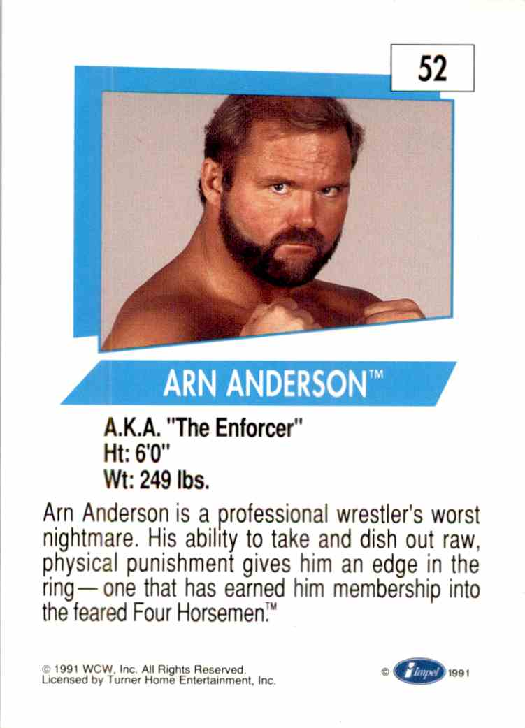 1991 Wcw Arn Anderson #52 card back image
