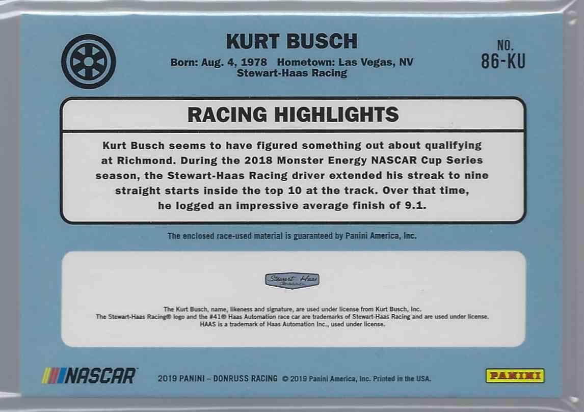 2019 Donruss Retro Relics '86 Kurt Busch #86KU card back image