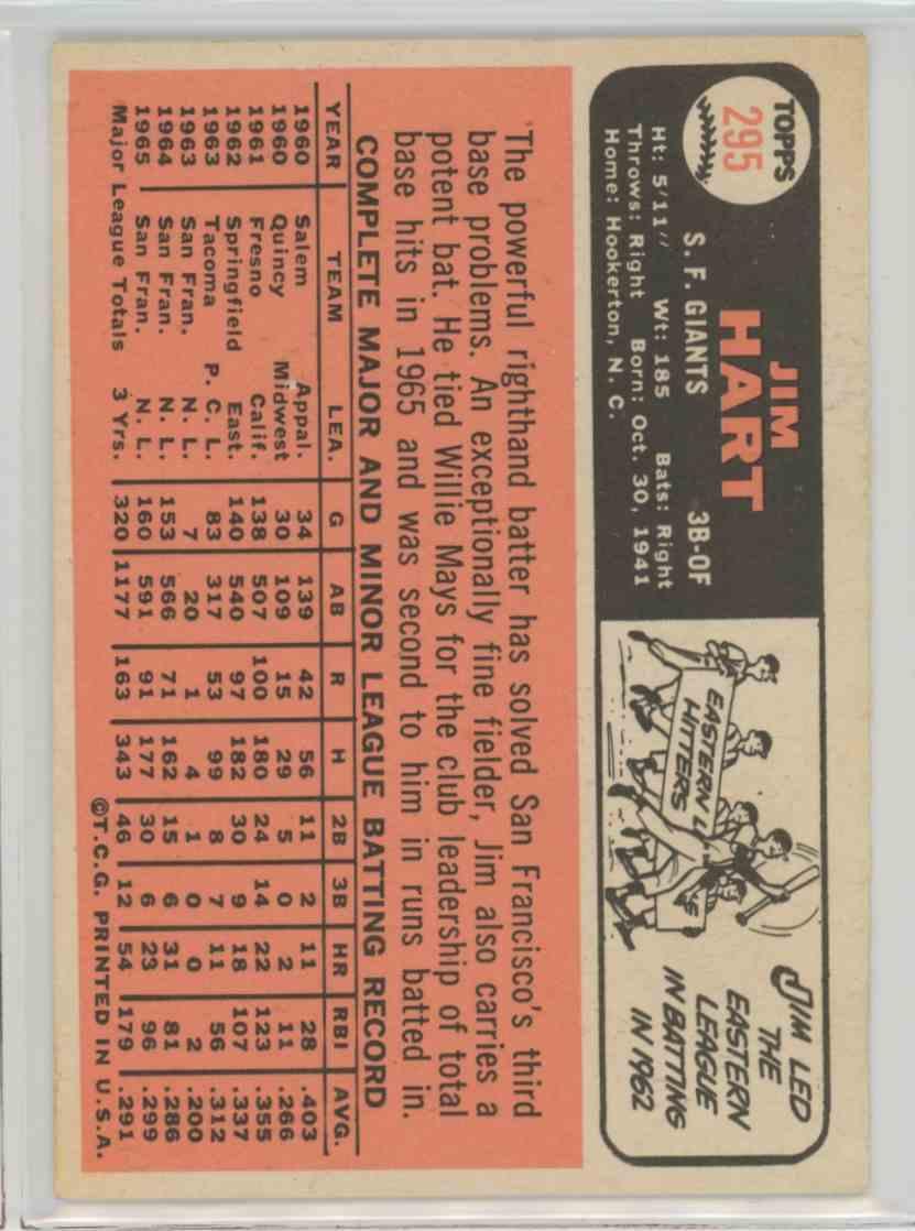 1966 Topps Jim Hart #295 card back image