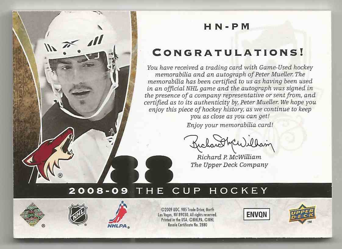 2008-09 Upper Deck The Cup Honorable Numbers Peter Mueller #HNPM card back image