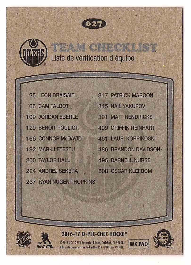 2016-17 O-Pee-Chee Retro Team Checklist #627 card back image