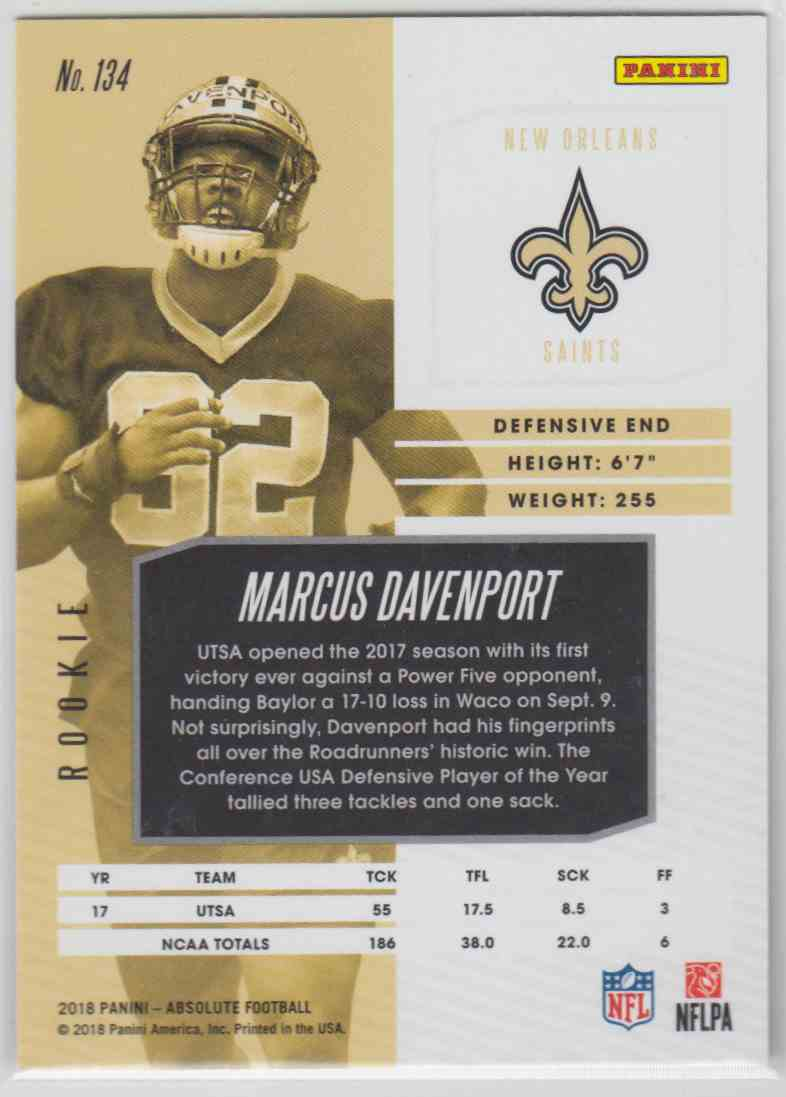 2018 Panini Absolute Spectrum Red Marcus Davenport #134 card back image