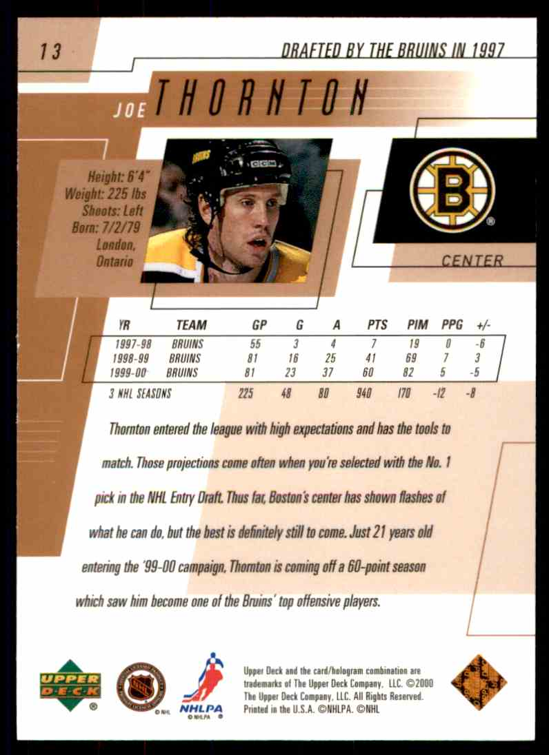 2000-01 Upper Deck Joe Thornton #13 card back image