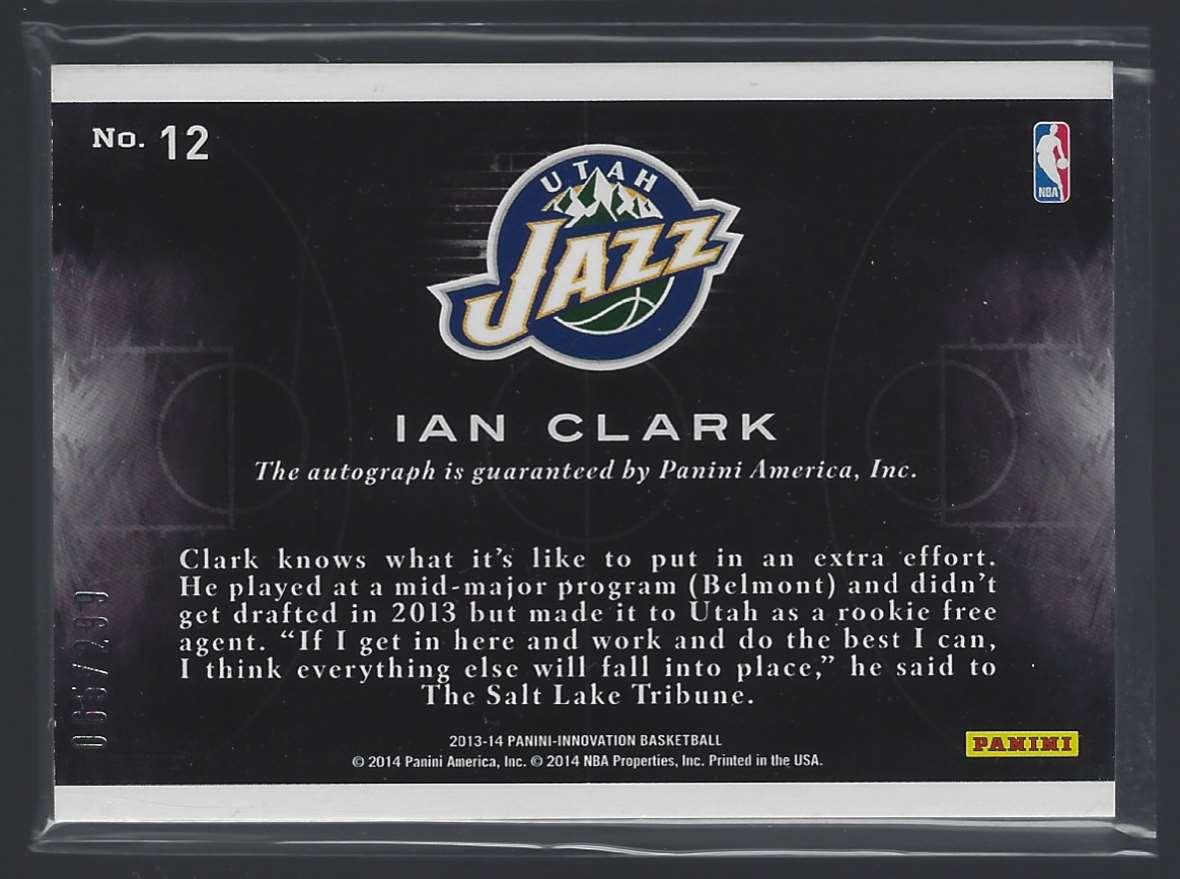 2013-14 Innovation Rookies Main Exhibit Signatures Ian Clark #12 card back image