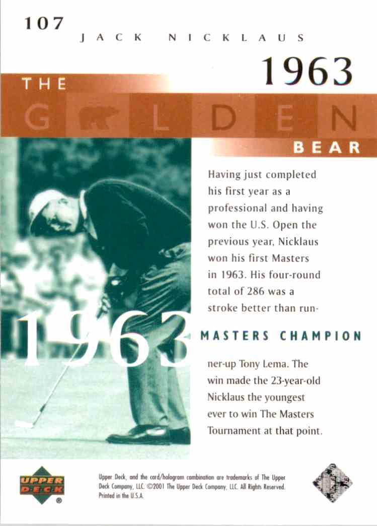 2001 Upper Deck J.Nicklaus Gb 63 Masters #107 card back image