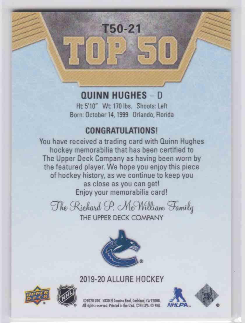 2019-20 Upper Deck Hockey Allure Quinn Hughes - Top 50 #T50-21 card back image