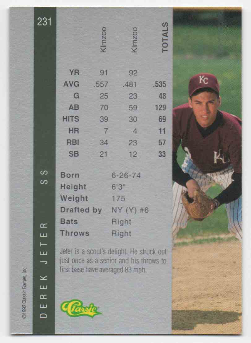 1992 Classic Four Sport Derek Jeter #231 card back image