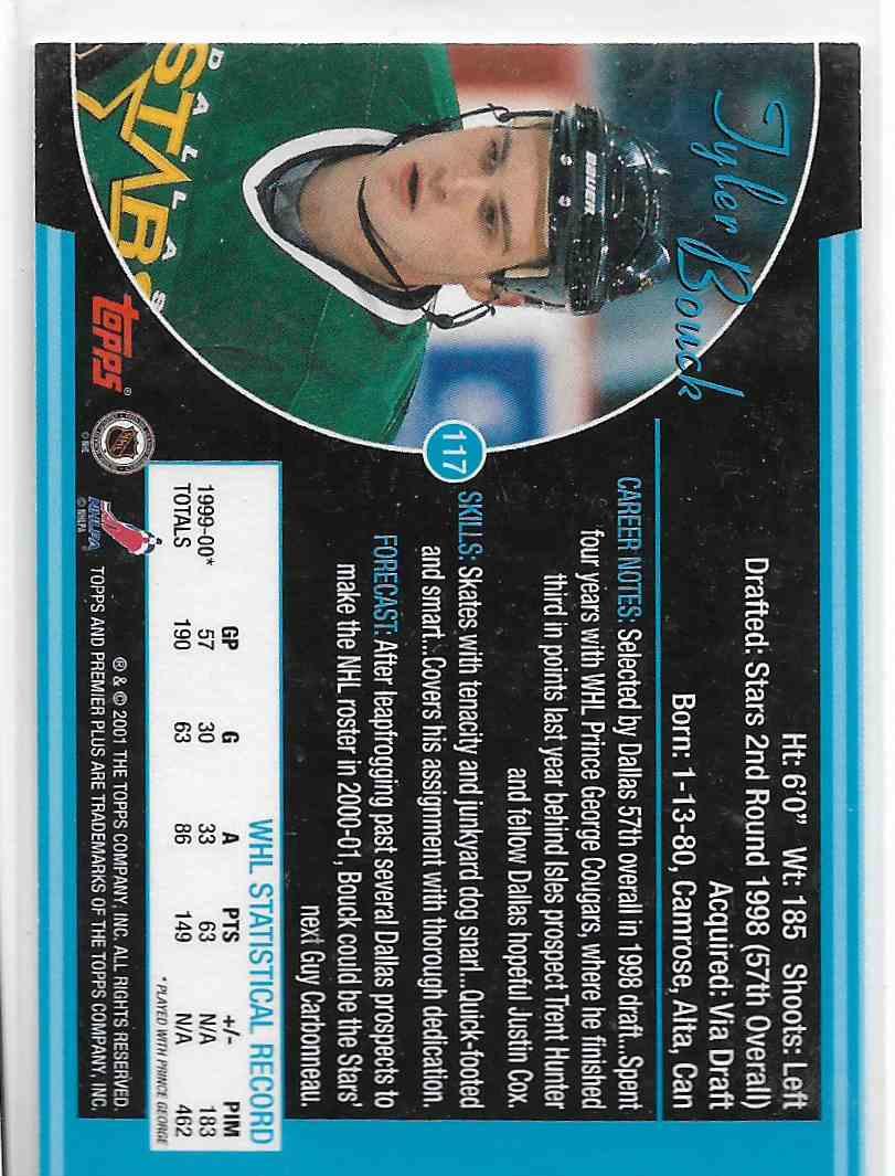 2000-01 Topps Premier Plus Tyler Bouck #117 card back image