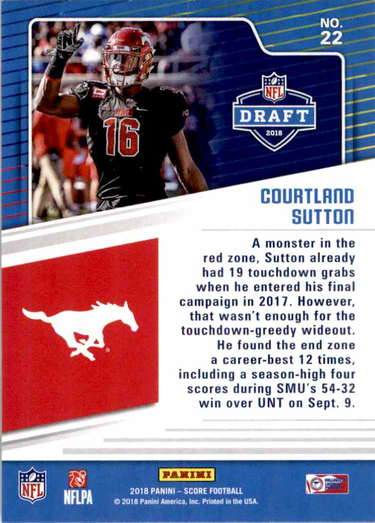 2018 Panini Score Draft Courtland Sutton #22 card back image