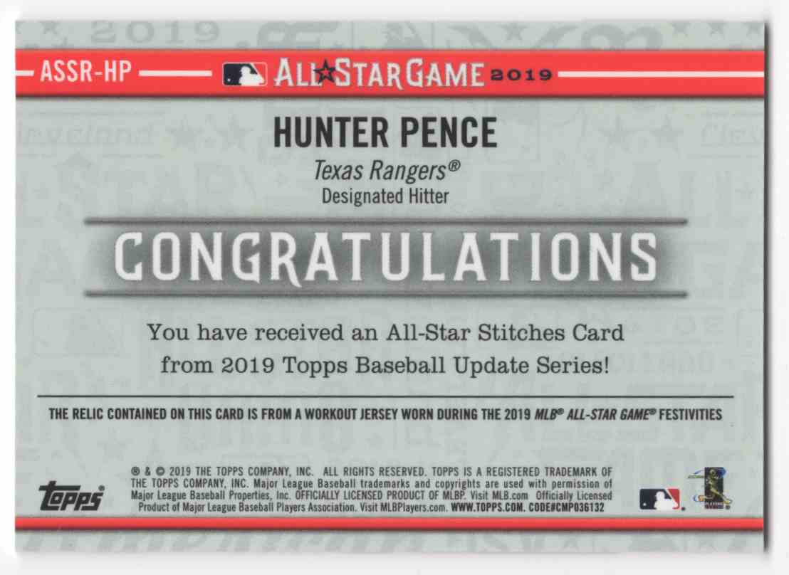 2019 Topps Update All Star Stitches Hunter Pence #ASSRHP card back image