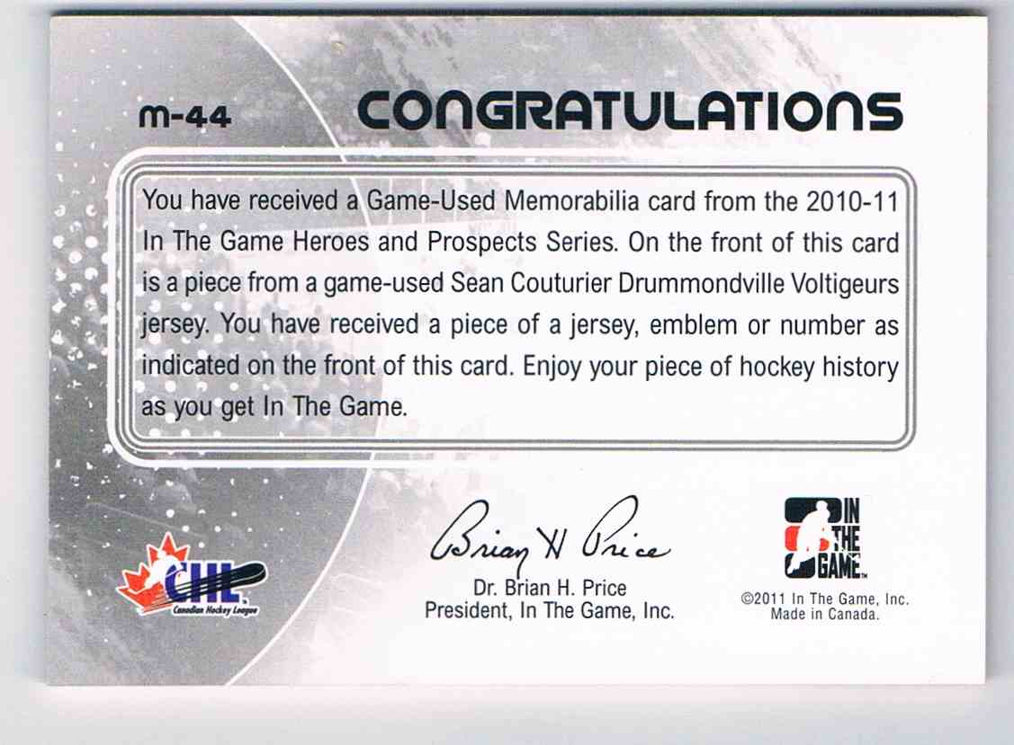 2010-11 ITG Heroes And Prospects Game Used Numbers Black Game Used Numbers Black Sean Couturier #M-44 card back image