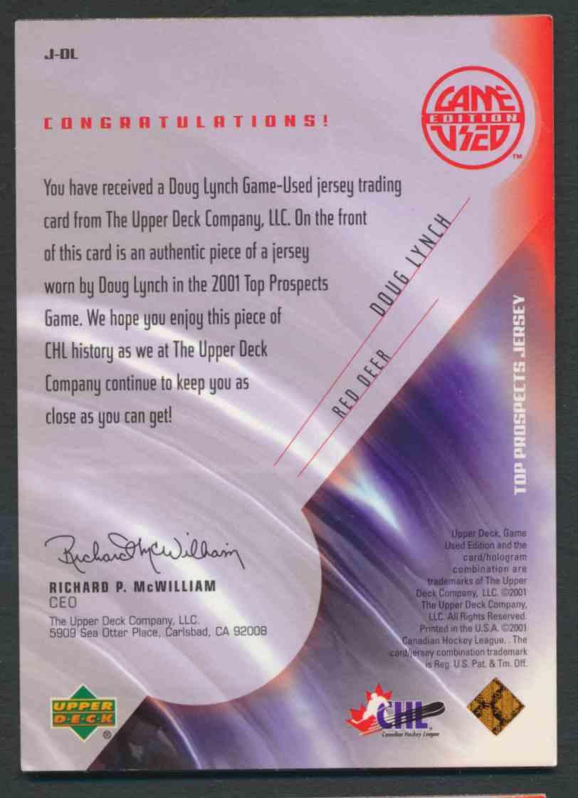 2001-02 Upper Deck CHL Prospects Doug Lynch #J-DL card back image