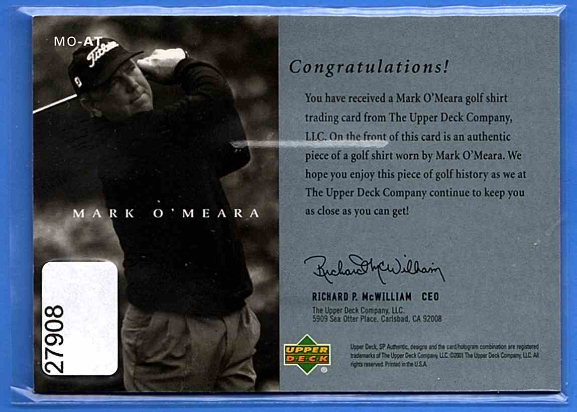 2001 SP Authentic Preview Authentic Threads Mark O'Meara #MOAT card back image