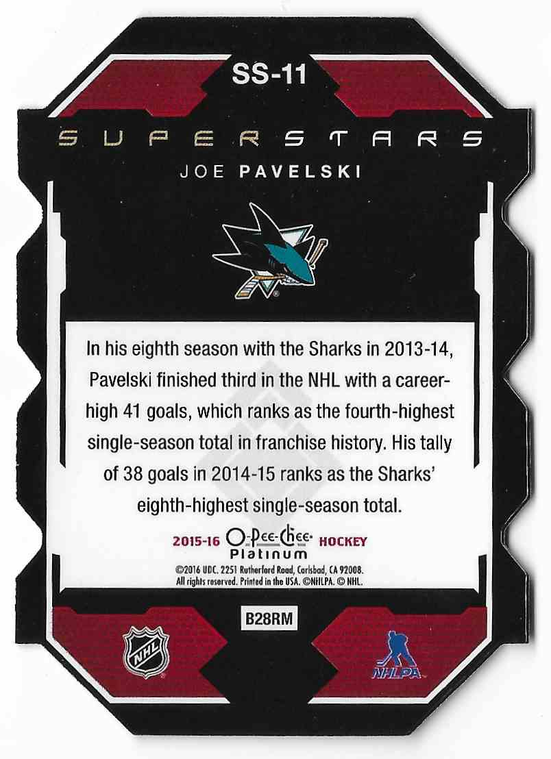 2015-16 O-Pee-Chee Platinum Joe Pavelski #SS-11 card back image