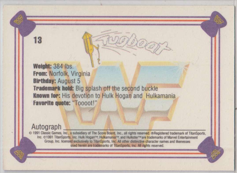 1991 Classic WWF Superstars Tugboat #13 card back image