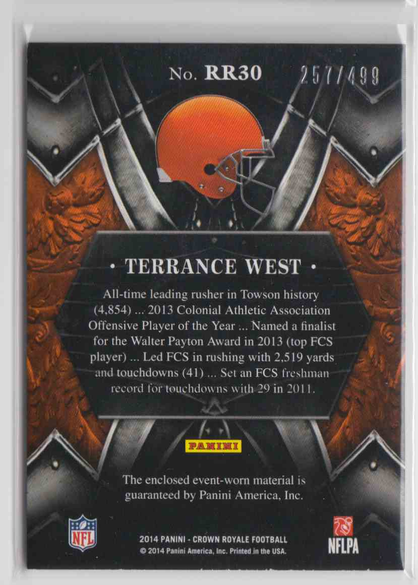 2014 Panini Crown Royale Rookie Royalty Terrance West #RR30 card back image