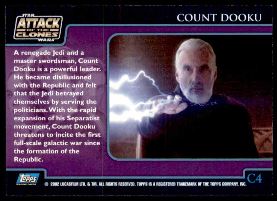 2002 Topps Star Wars Attack Of The Clones Count Dooku #C4 card back image