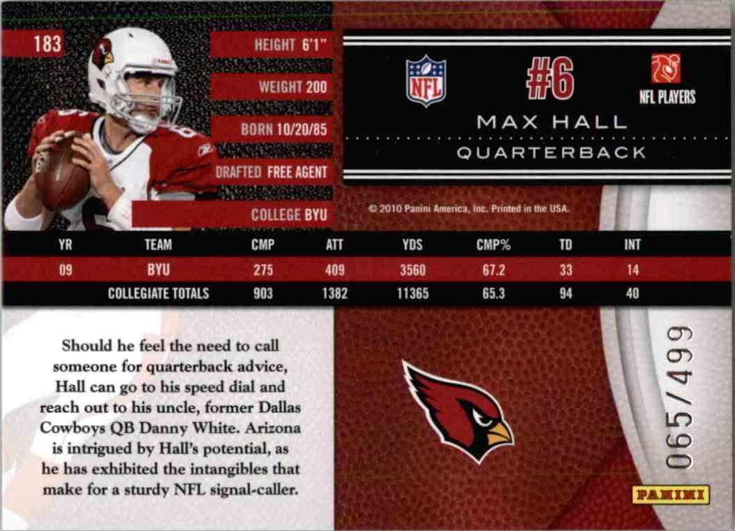 2010 Leaf Limited Phenoms Max Hall #183 card back image