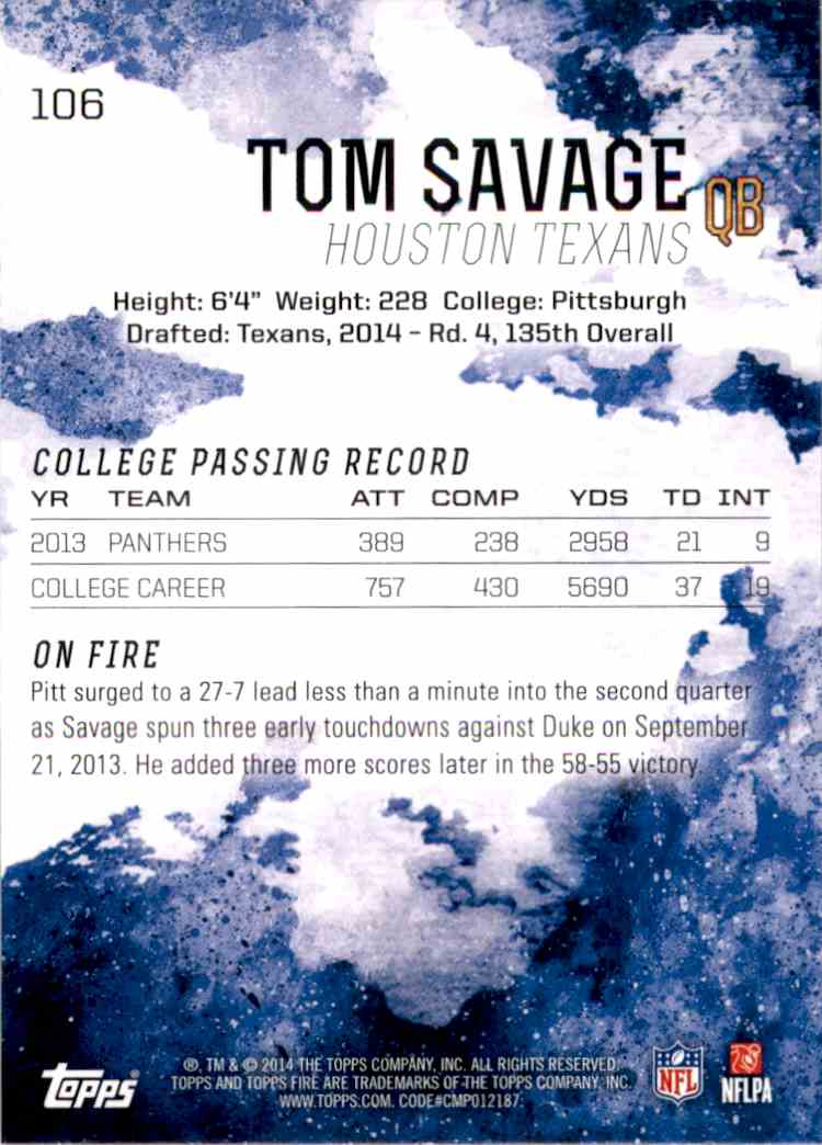2014 Topps Fire Tom Savage RC #106 card back image