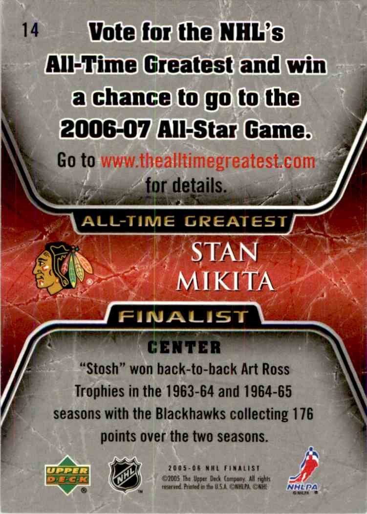 2005-06 Upper Deck All Time Greatest Stan Mikita #14 card back image