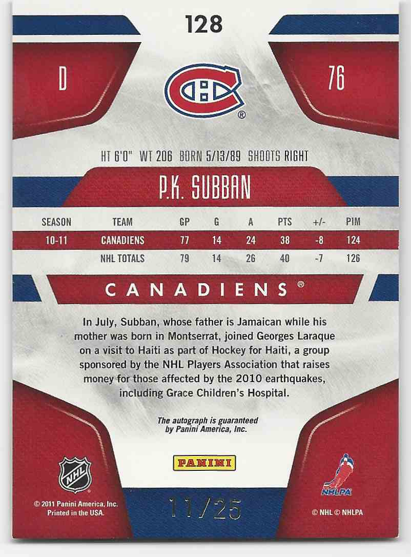 2011-12 Certified MIrror Gold Signatures P.K. Subban #128 card back image