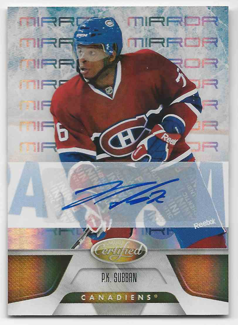 2011-12 Certified MIrror Gold Signatures P.K. Subban #128 card front image
