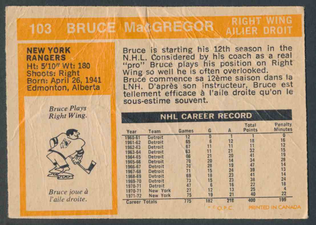1972-73 O-Pee-Chee Bruce MacGregor #103 card back image