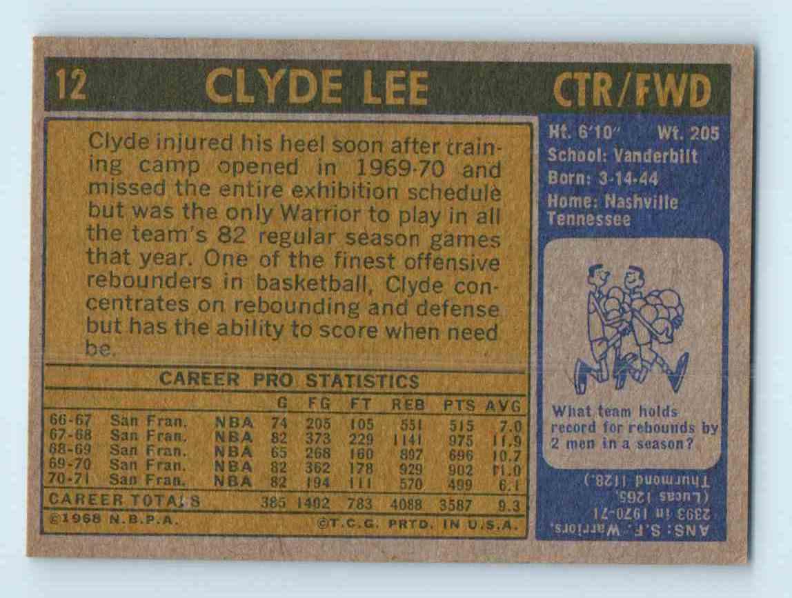 1971 72 Topps Clyde Lee 12 on Kronozio