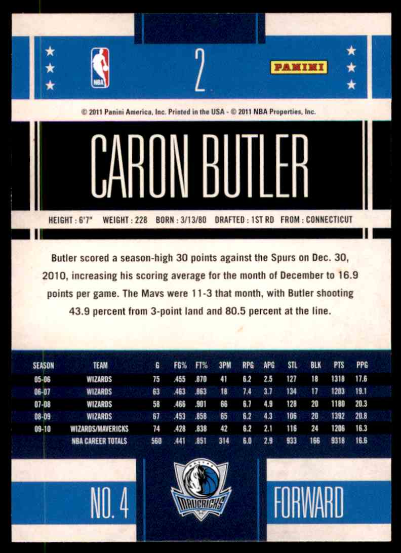 2010-11 Classics Caron Butler #2 card back image