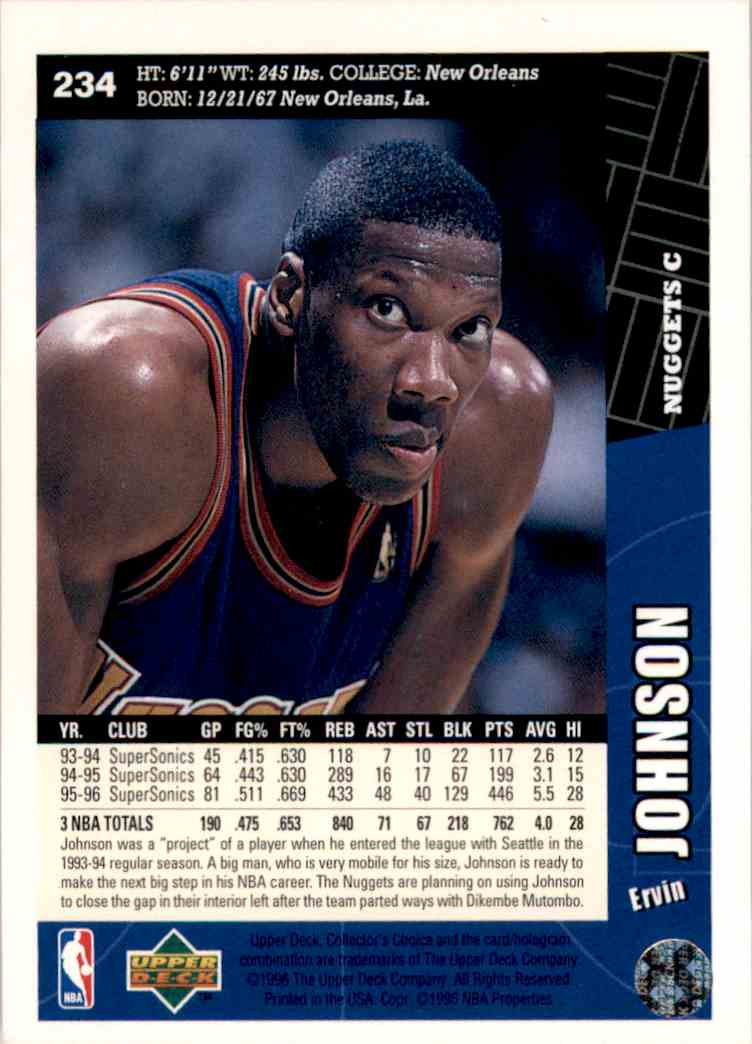 1996-97 Collector's Choice Ervin Johnson #234 card back image