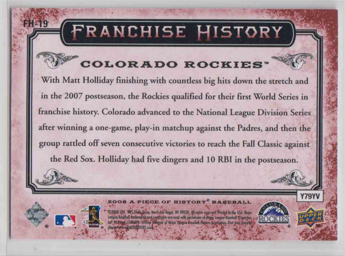 2008 Upper Deck A Piece Of History Franchise History Red Troy Tulowitzki #FH-19 card back image